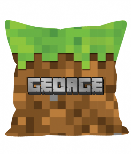"Personalised Minecraft Earth Block Design 12"" Cushion"